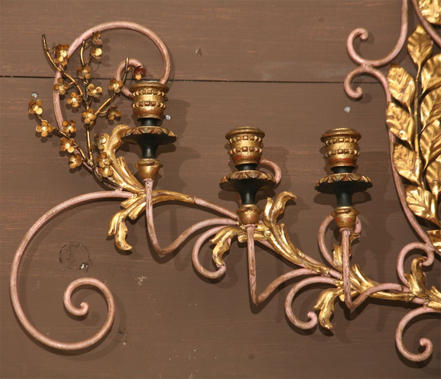 Italian Candle Wall Sconces : Regal Crested Wall Hung Italian Candle Sconce at 1stdibs