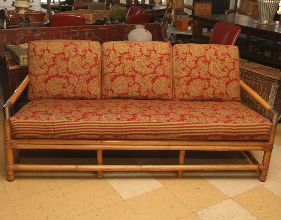 American Mid Century Ficks Reed Bamboo Sofa And Table For