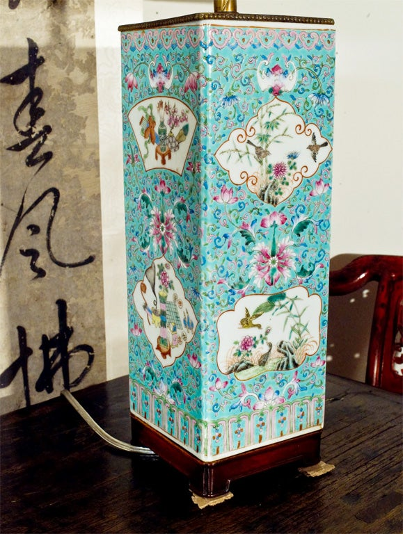 Chinese Lamp made from a 19th Century faille rose turquoise vessel.