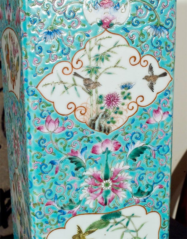 Lamp made from a 19th Century faille rose turquoise vessel. 1
