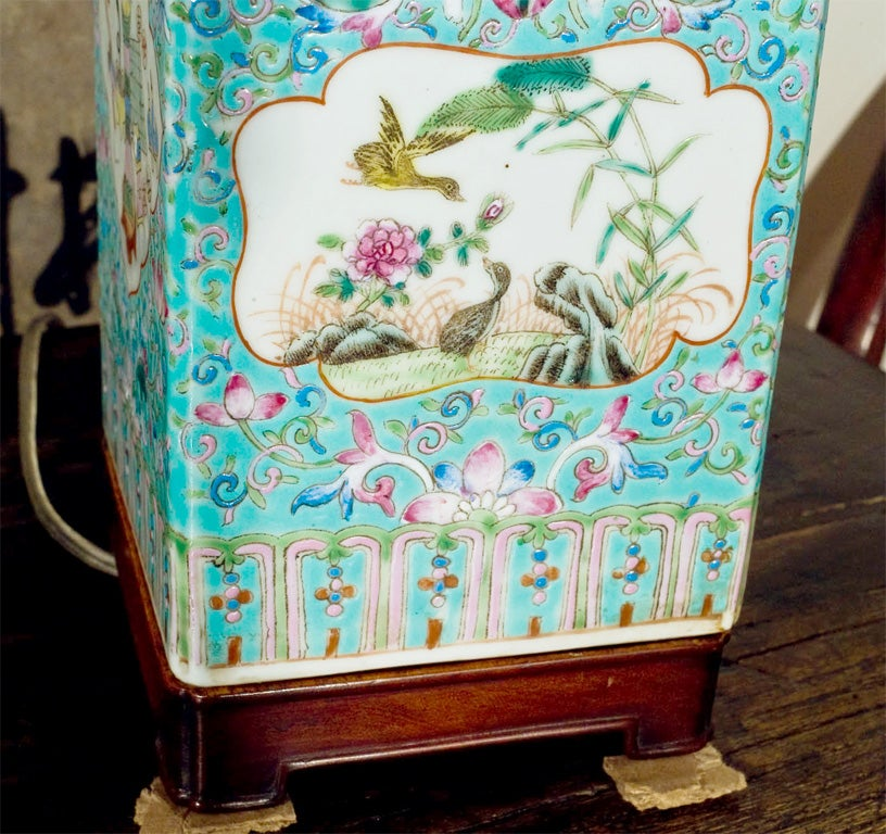 Lamp made from a 19th Century faille rose turquoise vessel. 2
