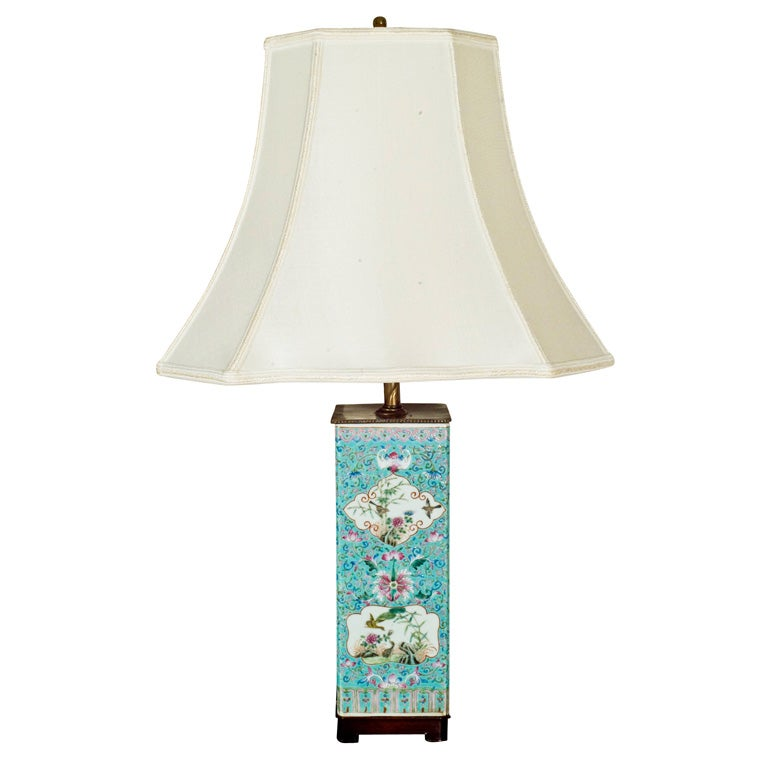 Lamp made from a 19th Century faille rose turquoise vessel.