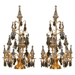 Pair Large French  Louis XIV Gilt Bronze and Crystal Lusters