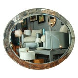 Oval Mirror with Beveled Frame and Applied Florets, French 1940s
