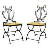 Pair of Neoclassical Brass-Mounted Folding Chairs