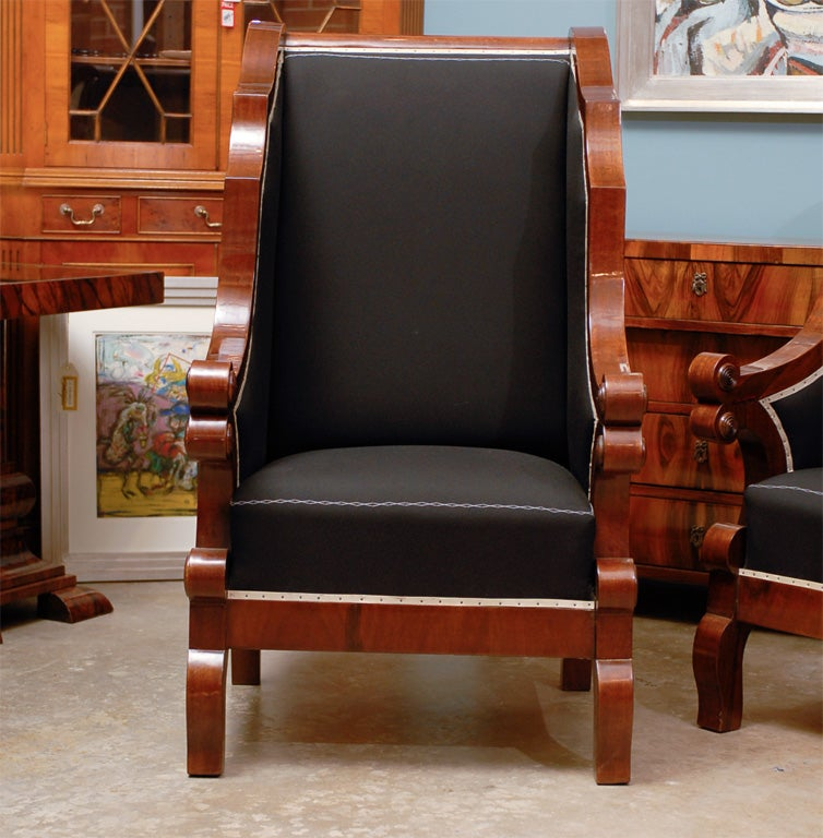 Hungarian Pair of Biedermeier Club Chairs with Cascading Arms from the 19th Century  For Sale