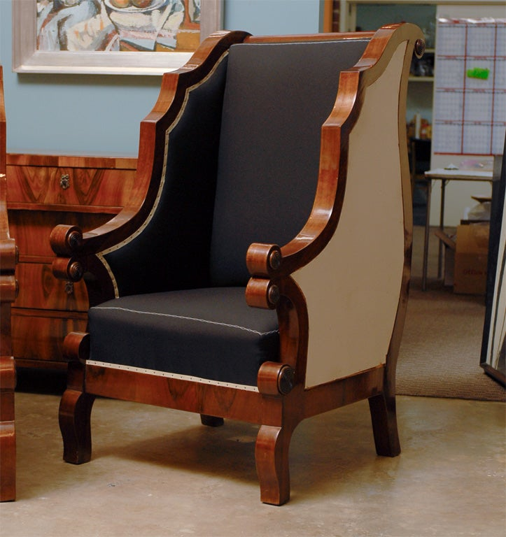 Pair of Biedermeier Club Chairs with Cascading Arms from the 19th Century  In Good Condition For Sale In Atlanta, GA