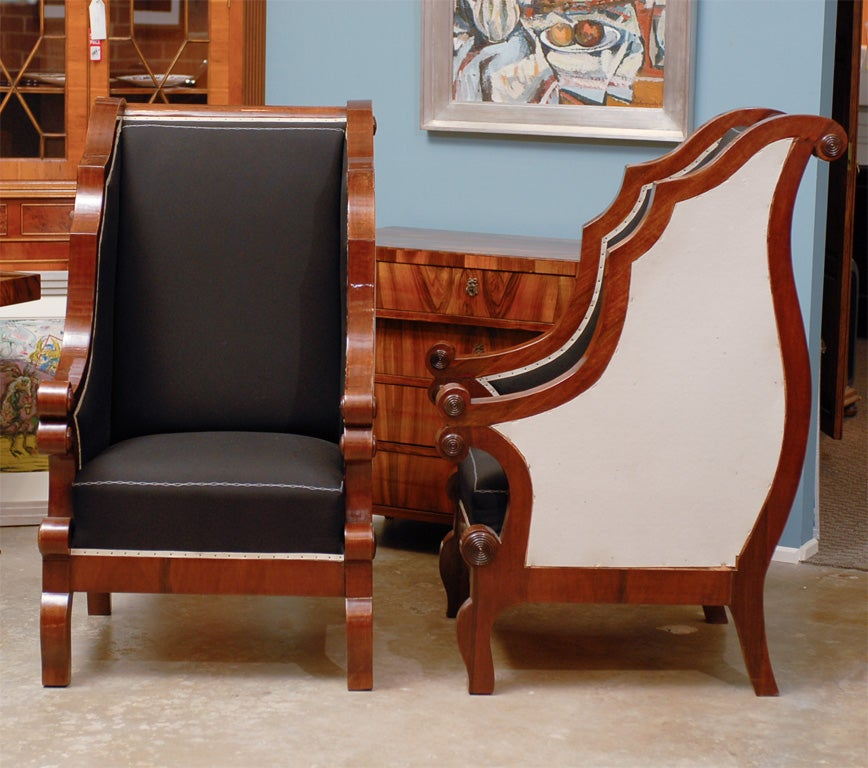 Wood Pair of Biedermeier Club Chairs with Cascading Arms from the 19th Century  For Sale