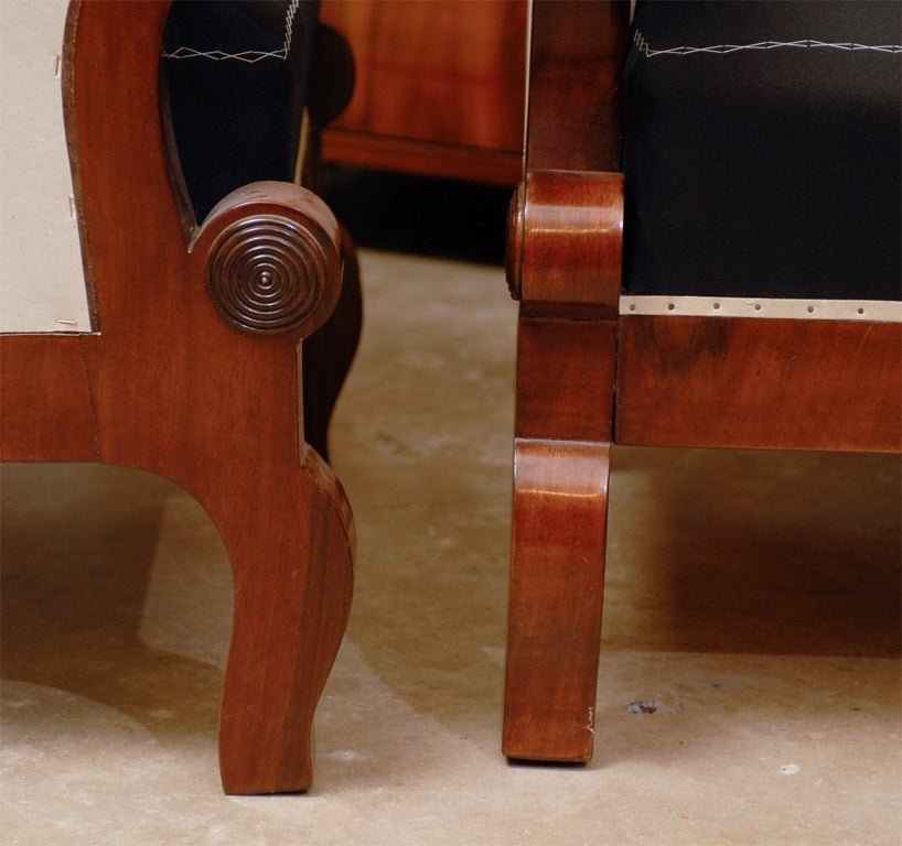 Pair of Biedermeier Club Chairs with Cascading Arms from the 19th Century  For Sale 3