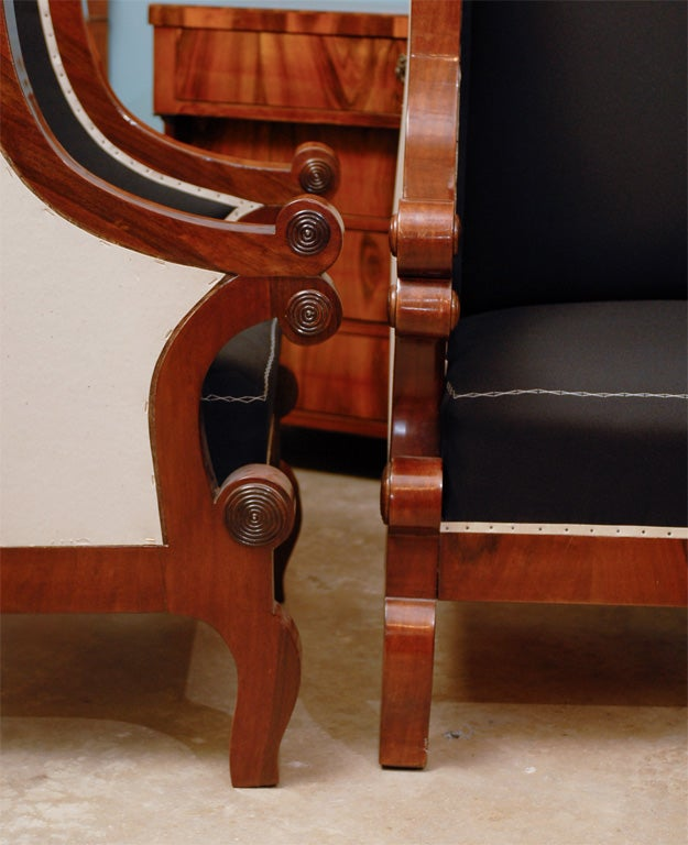 Pair of Biedermeier Club Chairs with Cascading Arms from the 19th Century  For Sale 4