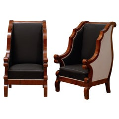 Pair of Biedermeier Club Chairs with Cascading Arms from the 19th Century
