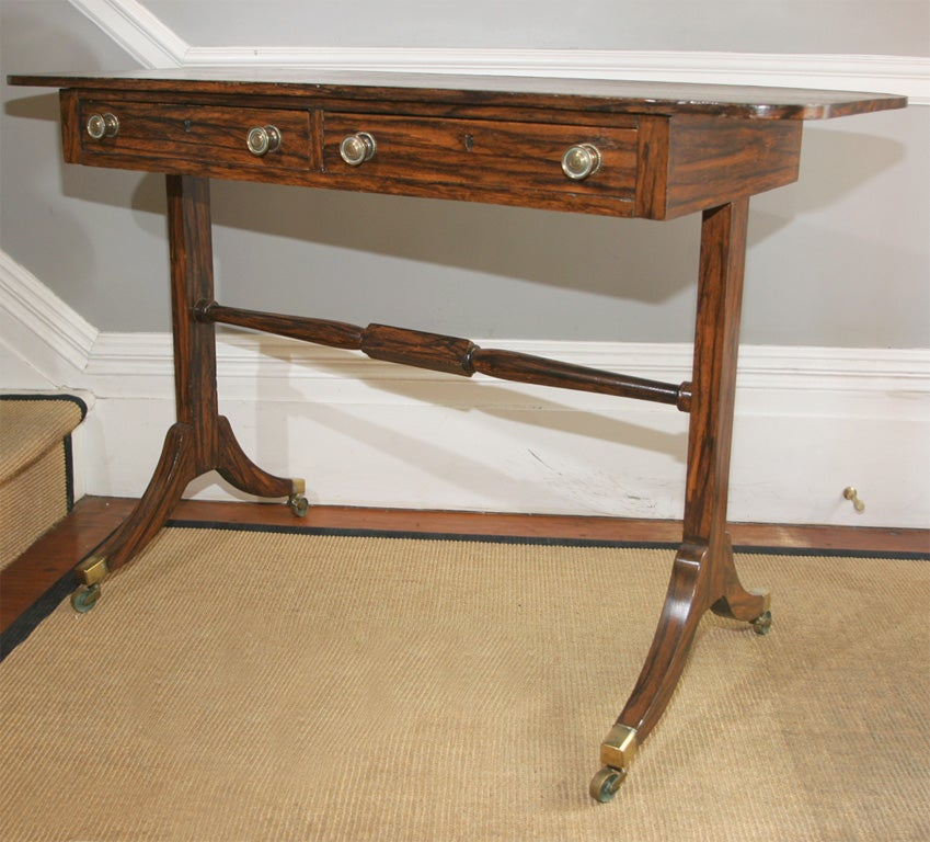 Regency Period Faux Rosewood Sofa Table With Two Drawers