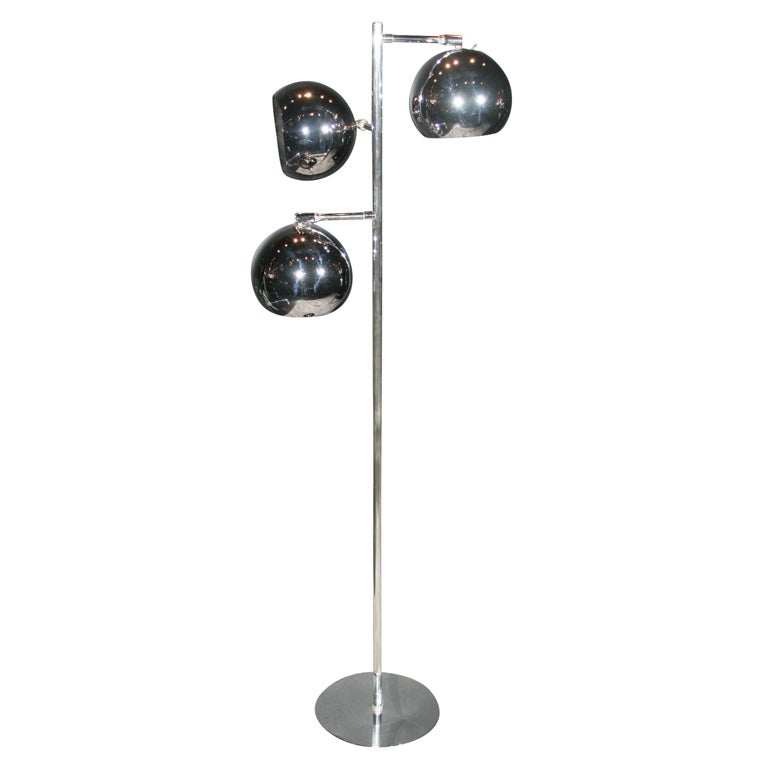 Tri-Globe Chrome Floor Lamp at 1stdibs