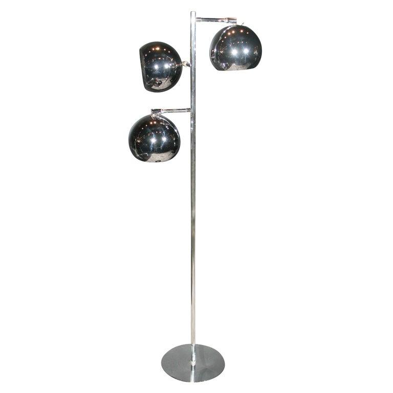 Tri globe chrome floor lamp at 1stdibs for 10 inch reflector floor lamp globe glass