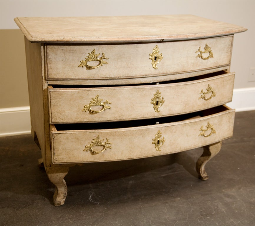 18th Century and Earlier Dated 18th Century Swedish Gustavian Chest of Drawers with Original Paint For Sale