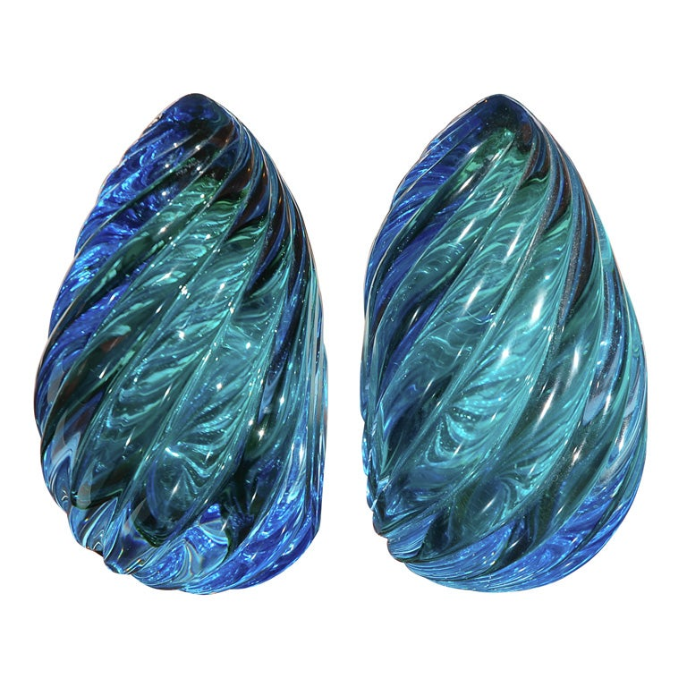 Great murano glass bookends in green and blue at 1stdibs