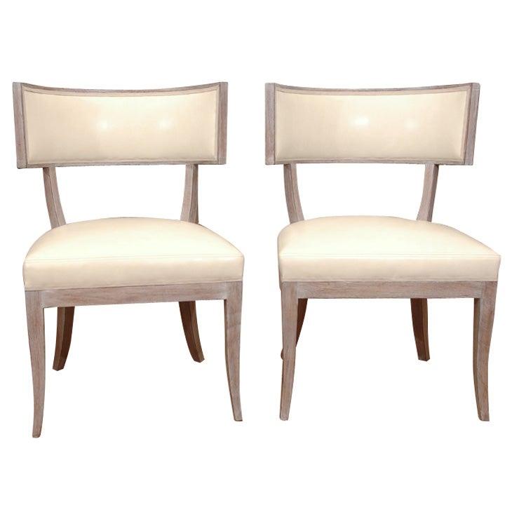Pair of hollywood regency style klismos chairs at stdibs