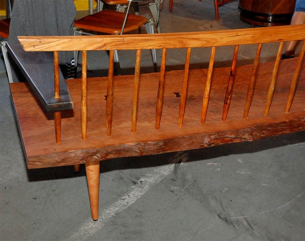 Nakashima Style One Arm Spindle Back Bench At 1stdibs
