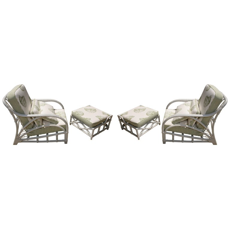Pair of rattan arm chairs with matching ottomans at 1stdibs for Matching arm chairs