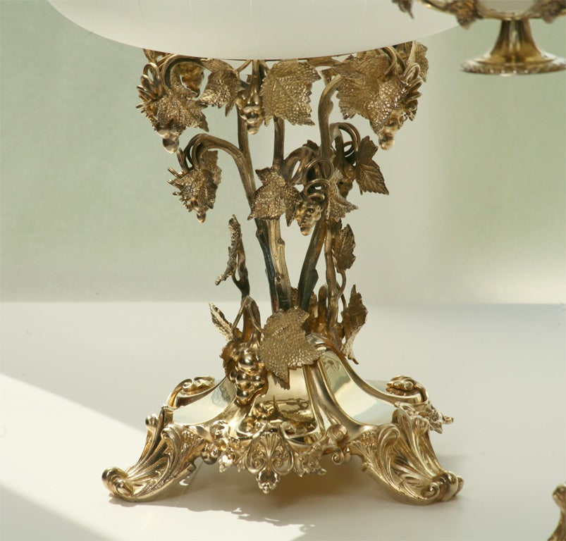 19th Century French Silver Plate Vermeil Three-Piece Centerpiece Set For Sale 2