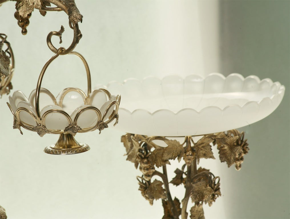 19th Century French Silver Plate Vermeil Three-Piece Centerpiece Set For Sale 4