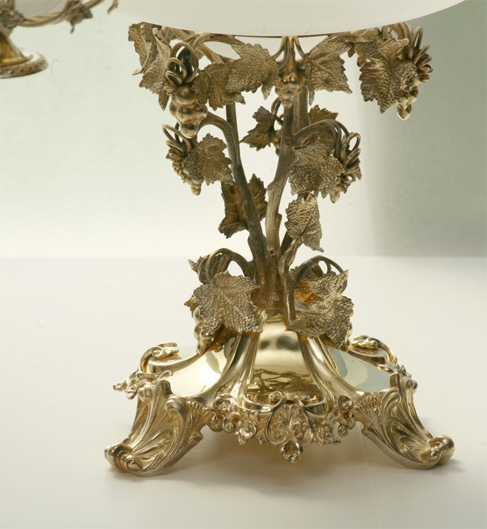 19th Century French Silver Plate Vermeil Three-Piece Centerpiece Set For Sale 5