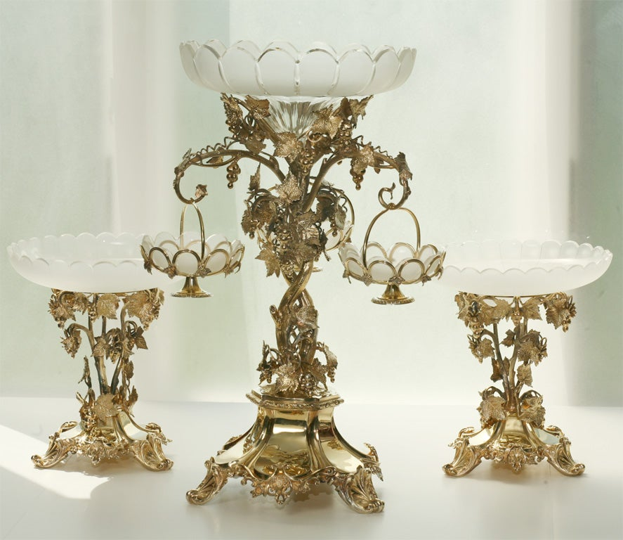 19th Century French Silver Plate Vermeil Three-Piece Centerpiece Set For Sale 6
