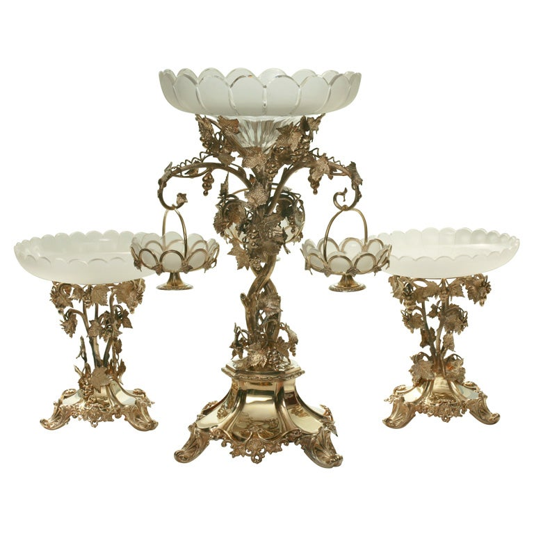 19th Century French Silver Plate Vermeil Three-Piece Centerpiece Set For Sale