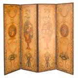 19th Century Italian Painted Leather 4-Panel Screen