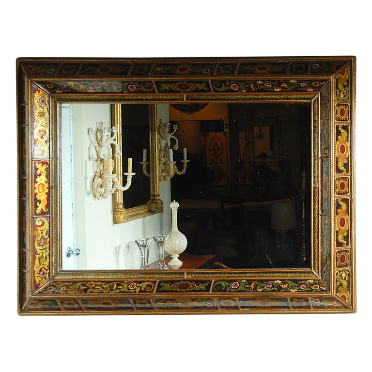 painted glass mirror frame at 1stdibs