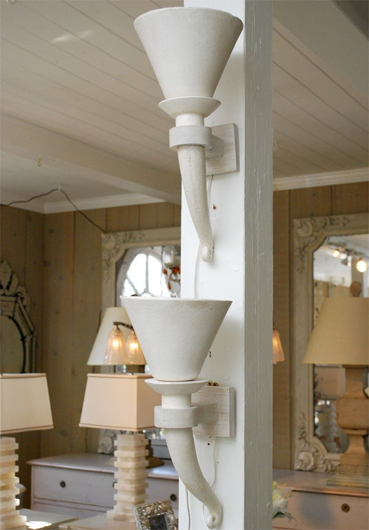 Plaster Wall Lights For Painting : Pair of French Art Deco Plaster Wall Sconces at 1stdibs