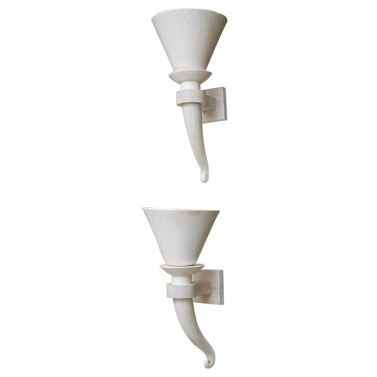 Pair of French Art Deco Plaster Wall Sconces at 1stdibs