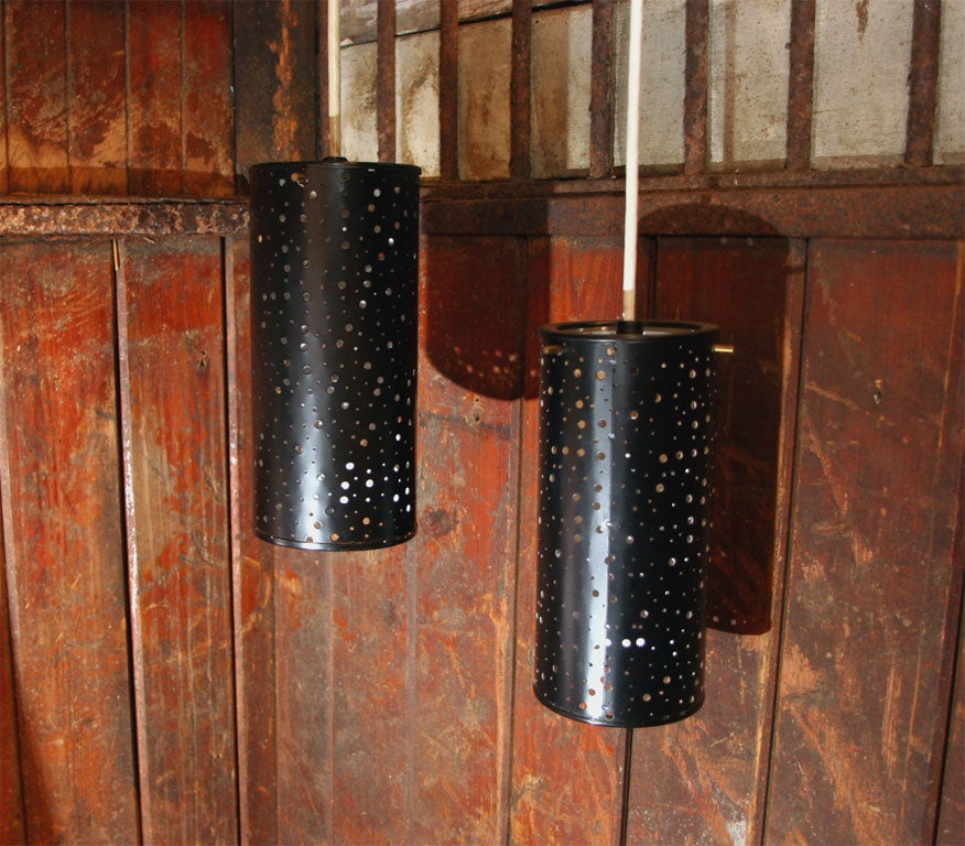 Pair Of Cylindrical Hanging Lights For Sale At 1stdibs