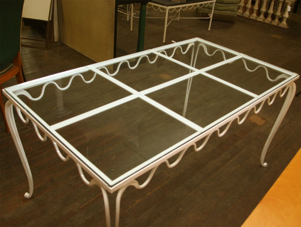 Royere Style French Wrought Iron Table In Good Condition For Sale In Stamford, CT