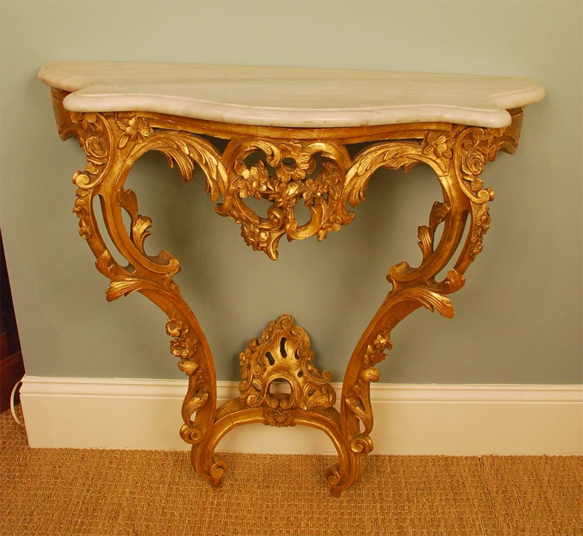 French Louis XV Style Giltwood Console Table For Sale