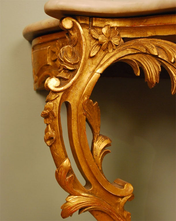Marble Louis XV Style Giltwood Console Table For Sale