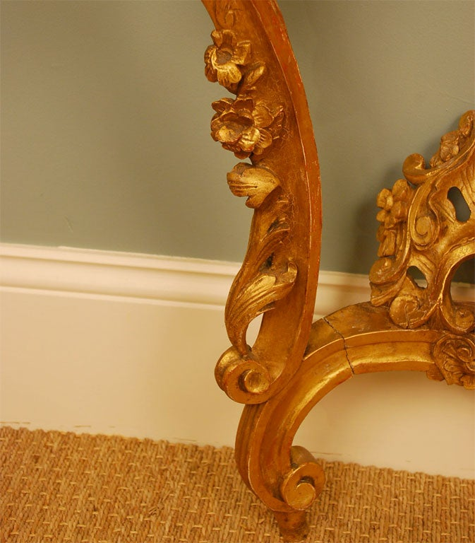 Louis XV Style Giltwood Console Table For Sale 1