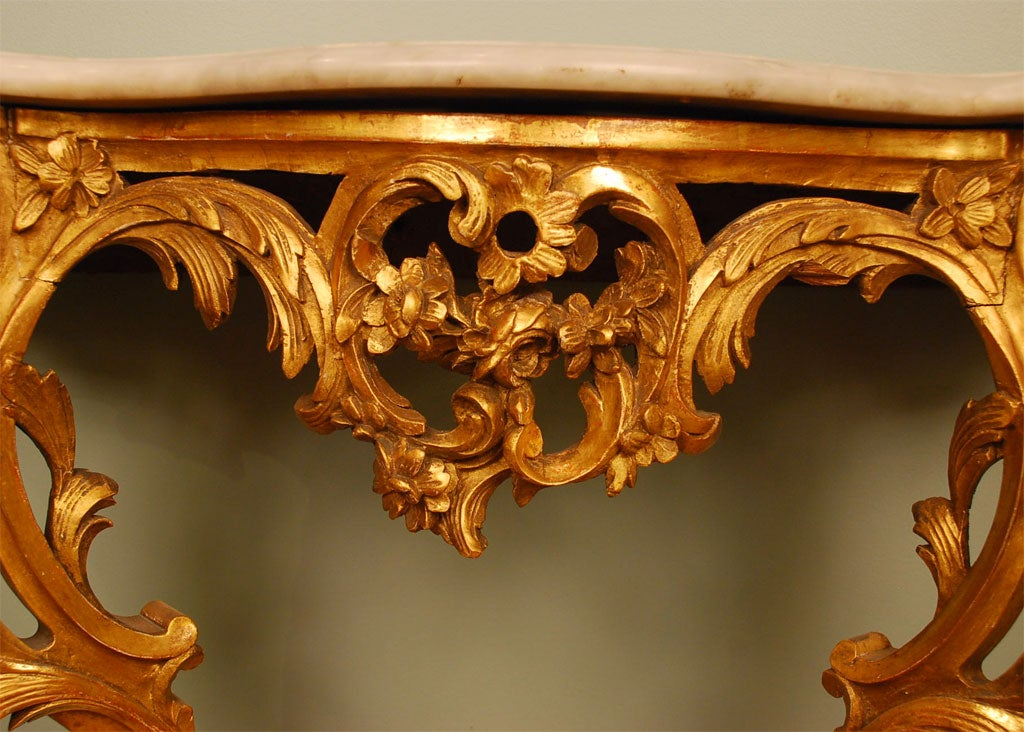 Louis XV Style Giltwood Console Table For Sale 2