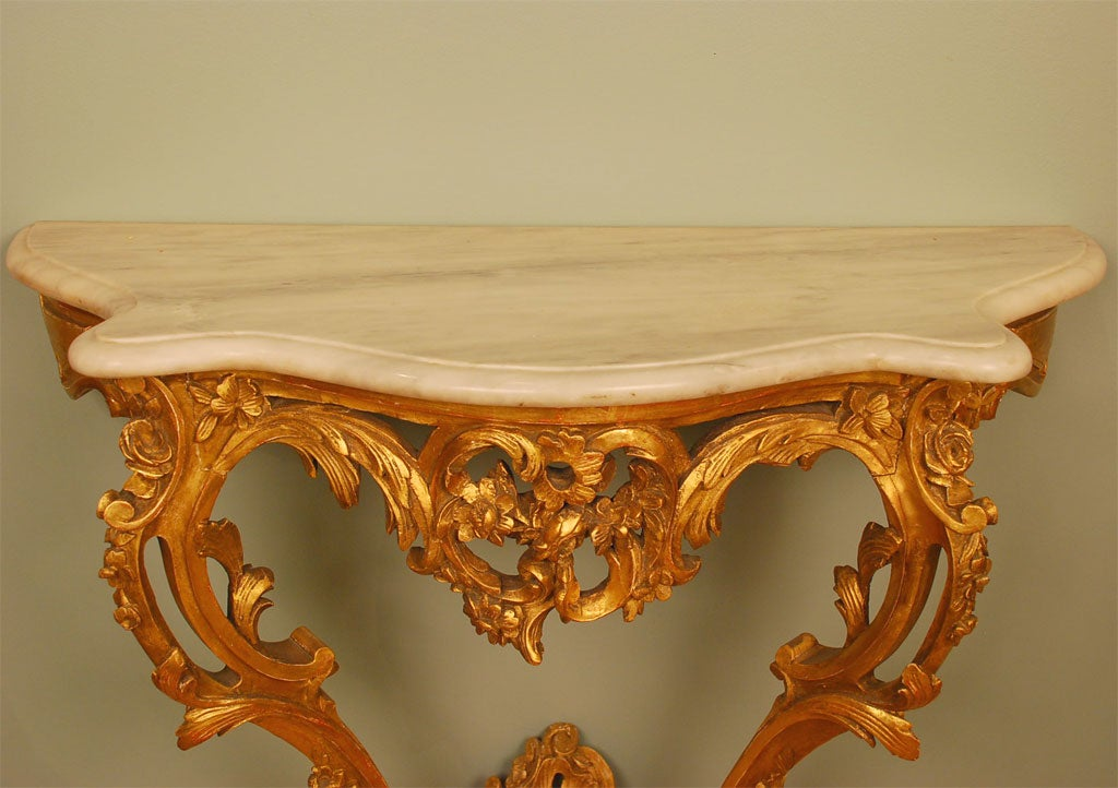 Louis XV Style Giltwood Console Table For Sale 4