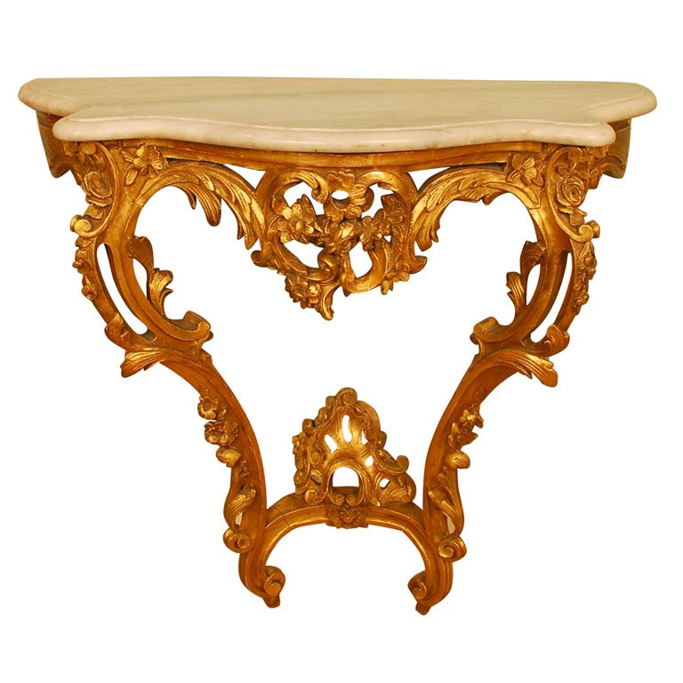 Louis XV Style Giltwood Console Table For Sale