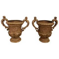 Pair of Continental Lead Urns