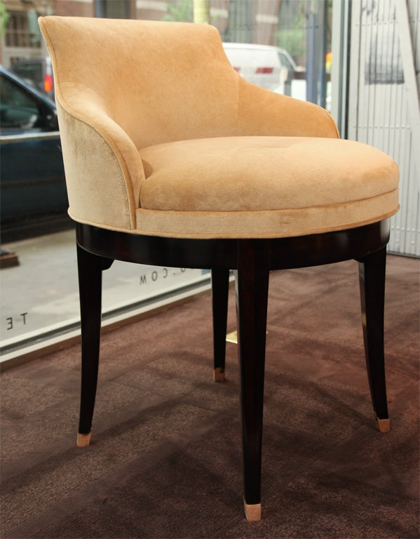 1940 S Swivel Vanity Stool In Camel Colored Velvet At 1stdibs