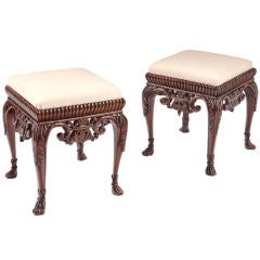 Pair of Unusual 19th Century Upholstered Mahogany Benches