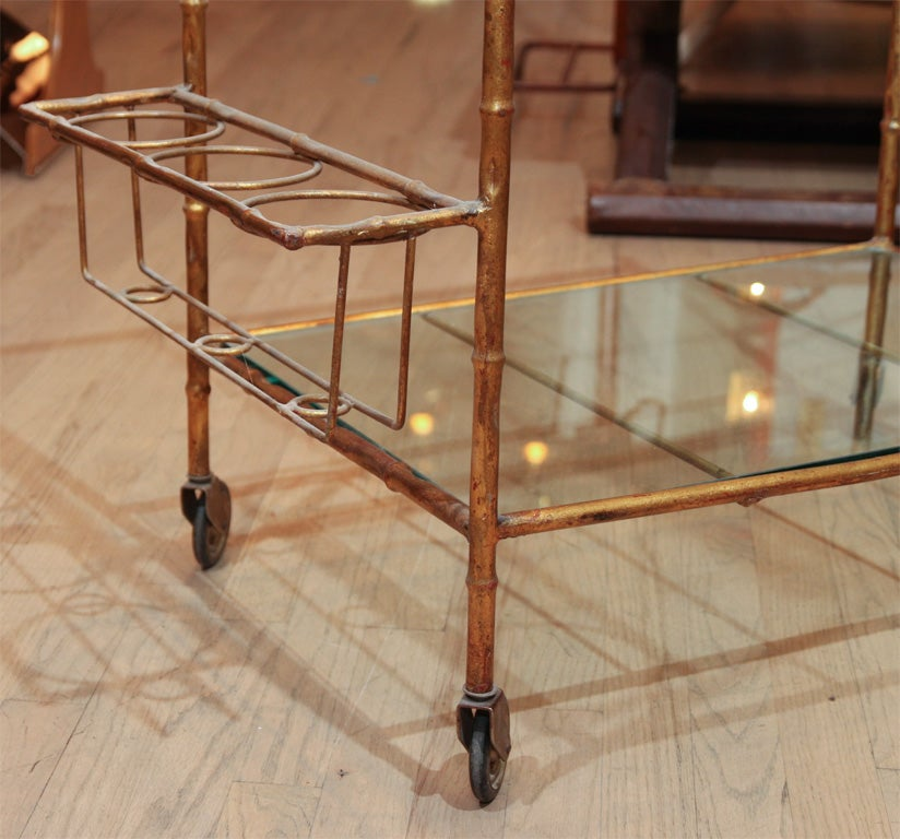 Gilt Elegant faux bamboo bar For Sale