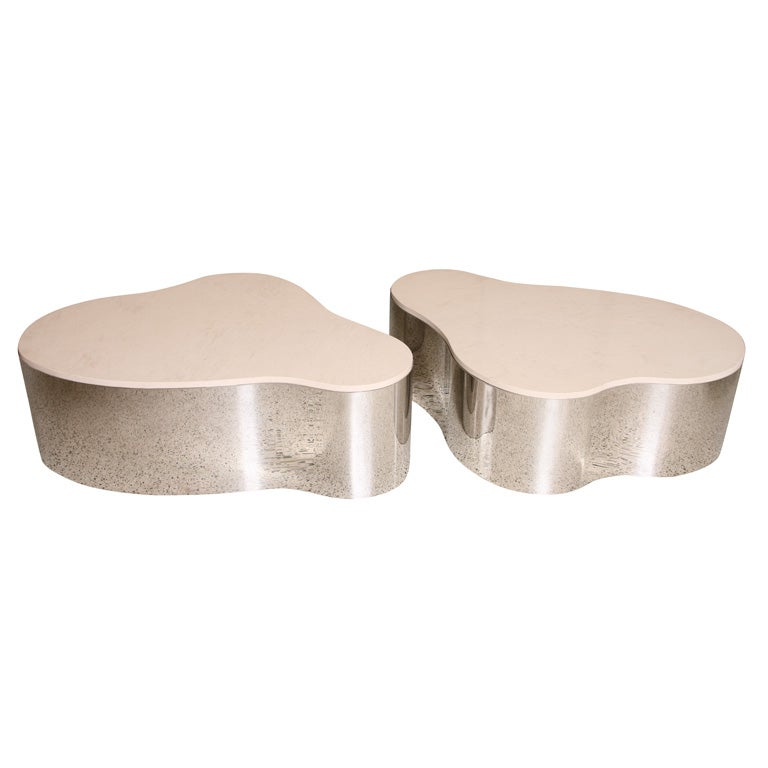 Pair Of Karl Springer Freeform Coffee Tables For Sale