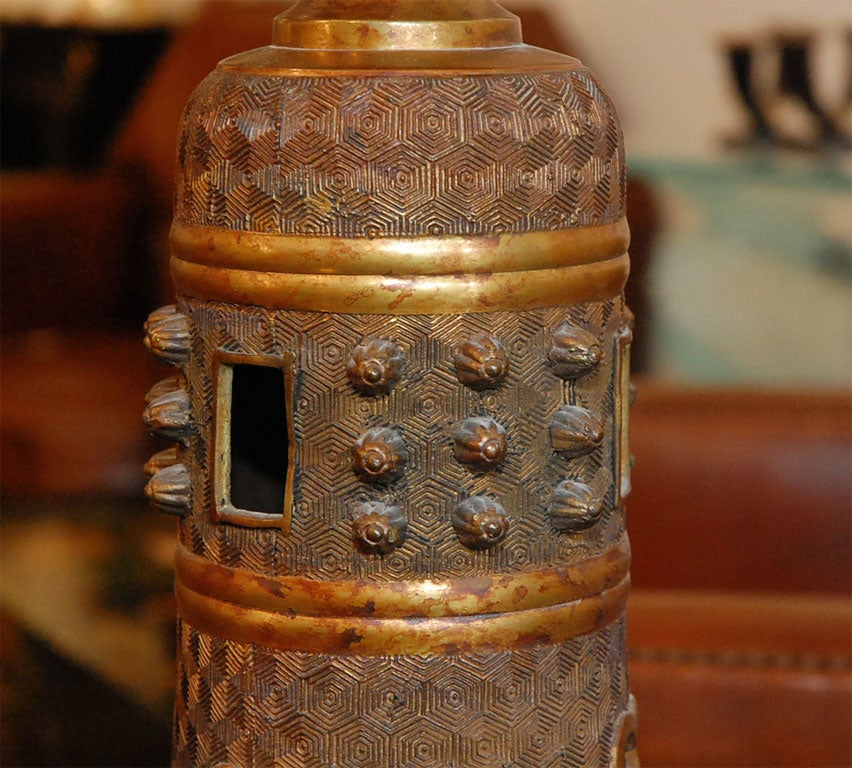 Tall Bronze Oriental style table lamp by Marbro For Sale 1