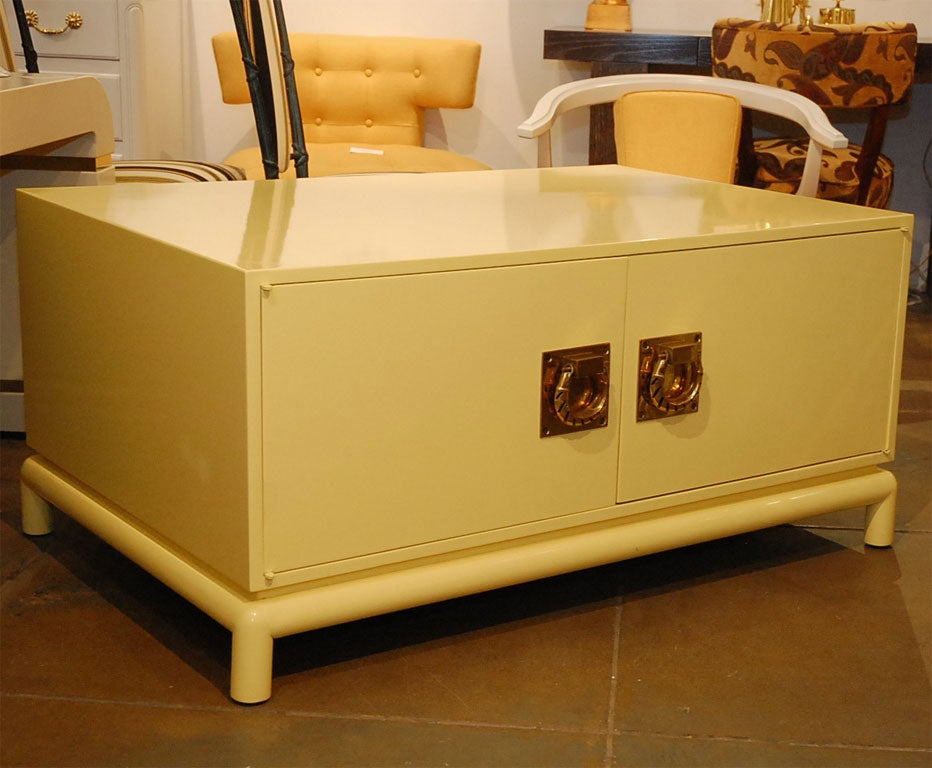 Large Yellow Lacquer Coffee Table Chest By Monteverdi Young At 1stdibs