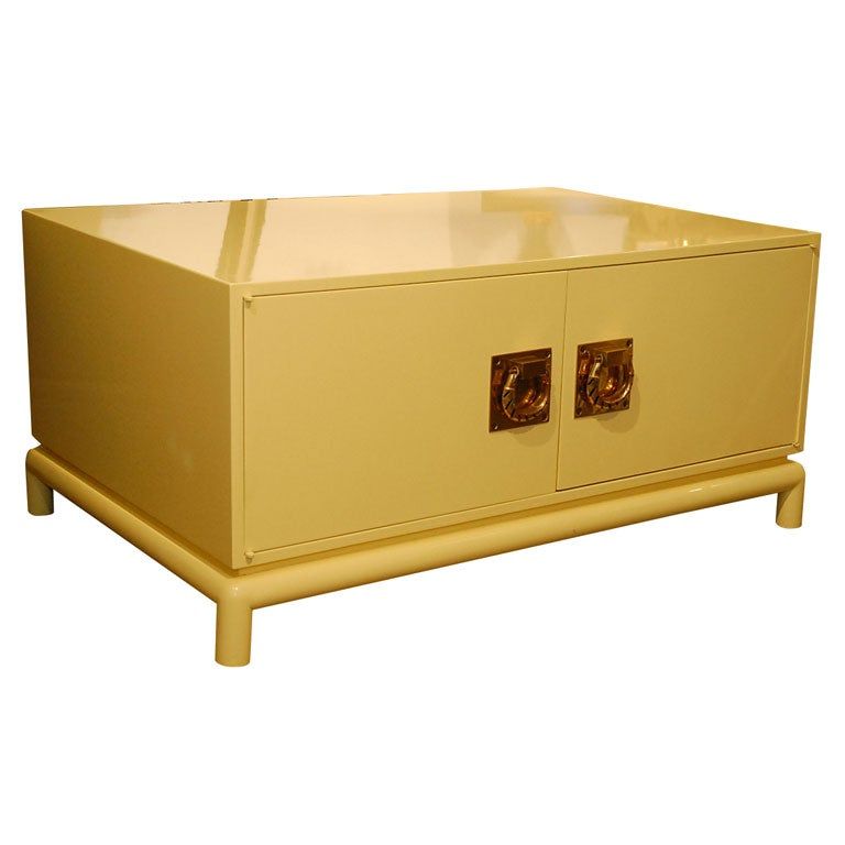 Large Yellow Lacquer Coffee table  chest by Monteverdi Young at