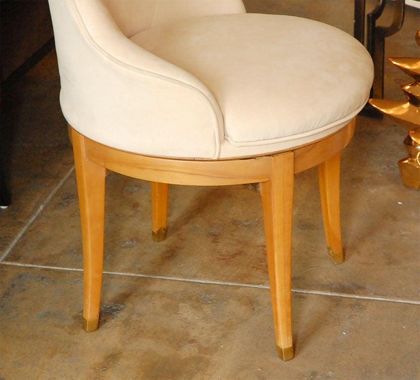 Vintage deco swivel vanity stool with ultrasuede upholstery at 1stdibs - Antique vanity stools ...