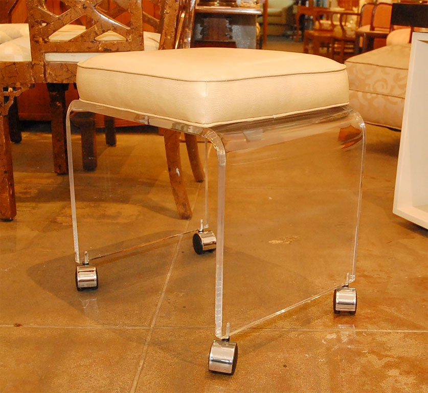 Lucite Stool With Faux Lizard Cushion At 1stdibs
